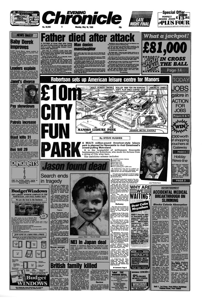 Joe Robertson News Article - Headlined £10m city fun park