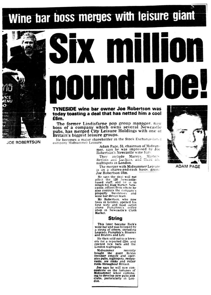 joe robertson news article - Headlined 6 million pound Joe