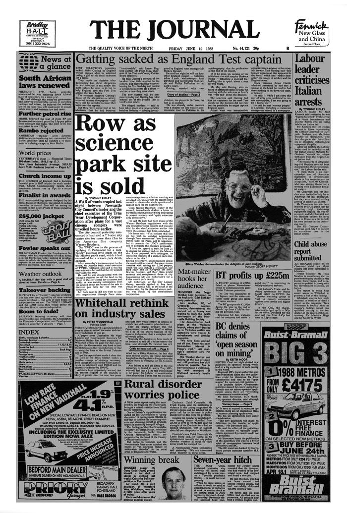 joe robertson Row as science park site is sold