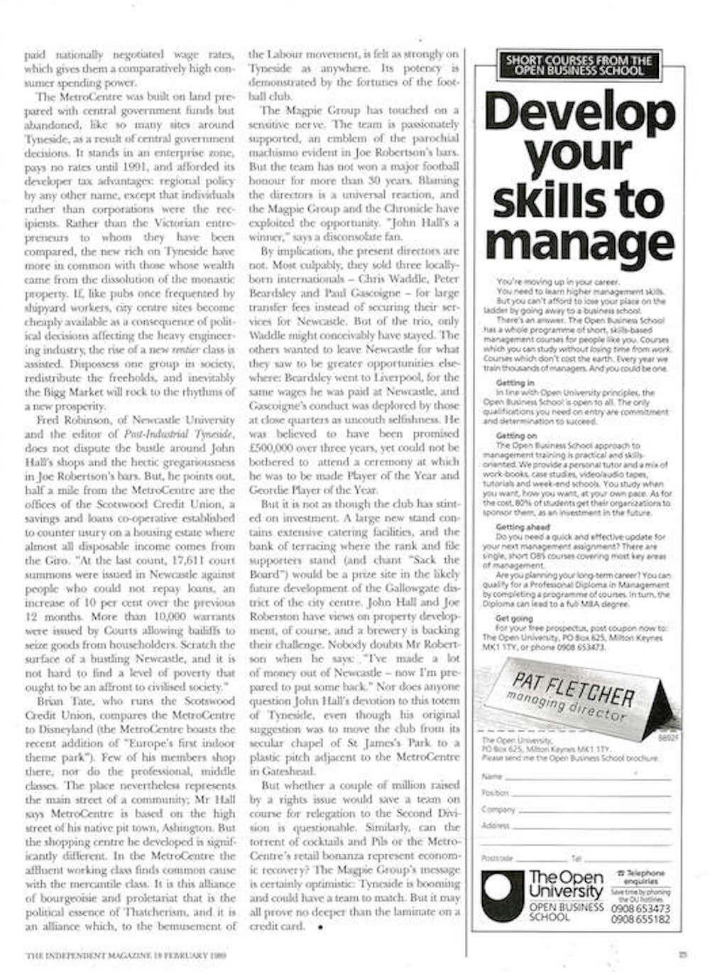 Joe Robertson Goals to Newcastle News Article 4
