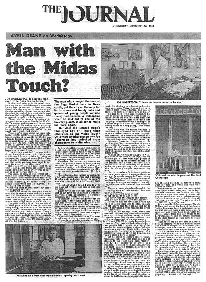joe robertson news article - Headlined Man with the Midas touch
