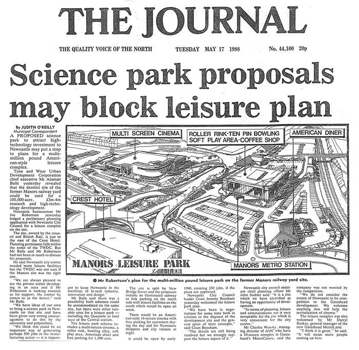 joe robertson news article - Headlined science park proposals may block leisure plane