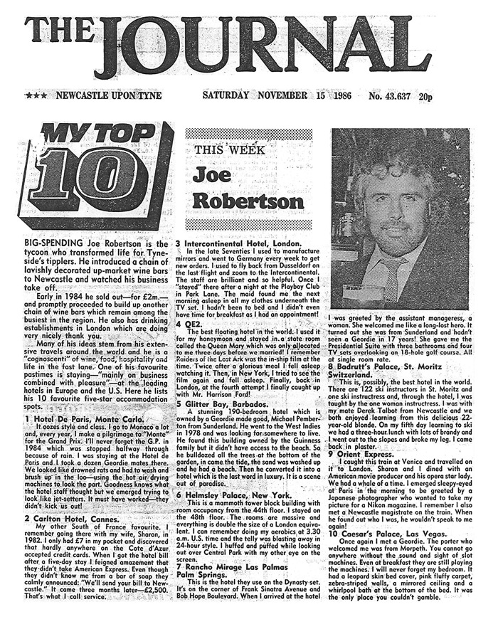 joe robertson news article - headlined Top Ten