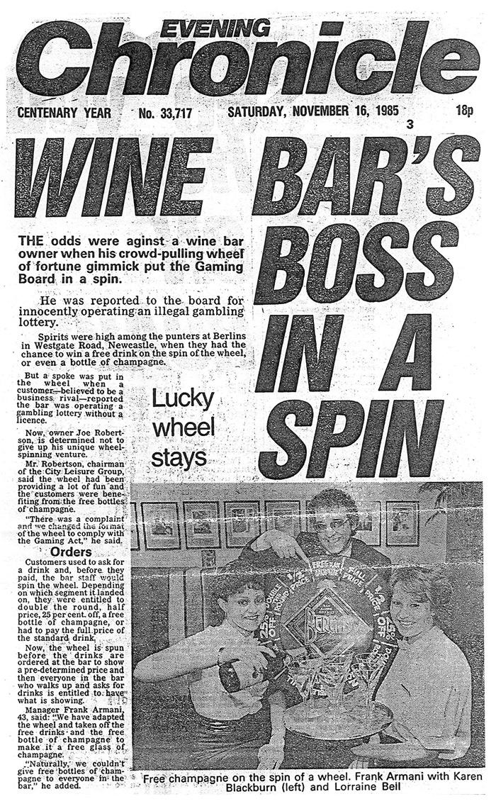 Joe Robertson News Article - Headlined Wine Bar's Boss in a Spin