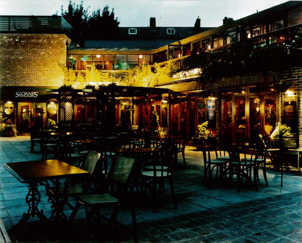 Sloanes beer garden at night