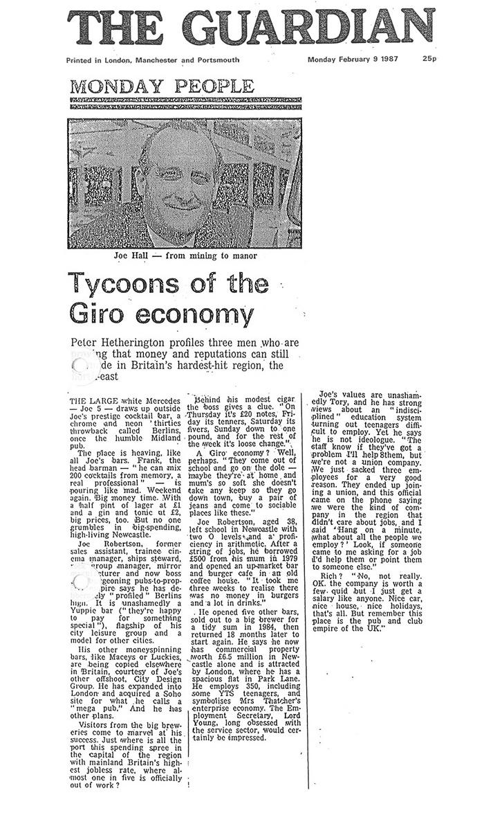 Joe Robertson News Article - Headlined Tycoons of the Giro Economy