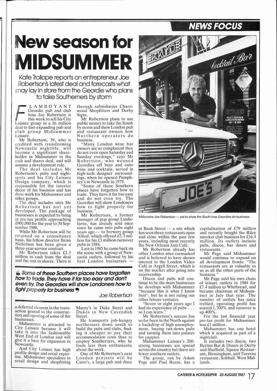 Joe Robertson Midsummer deal News Article