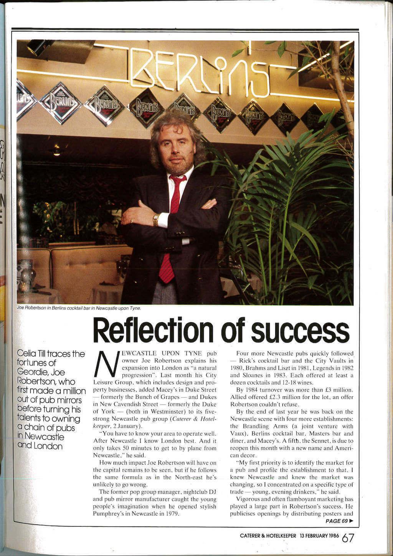 Joe Robertson Reflection of Success News Article