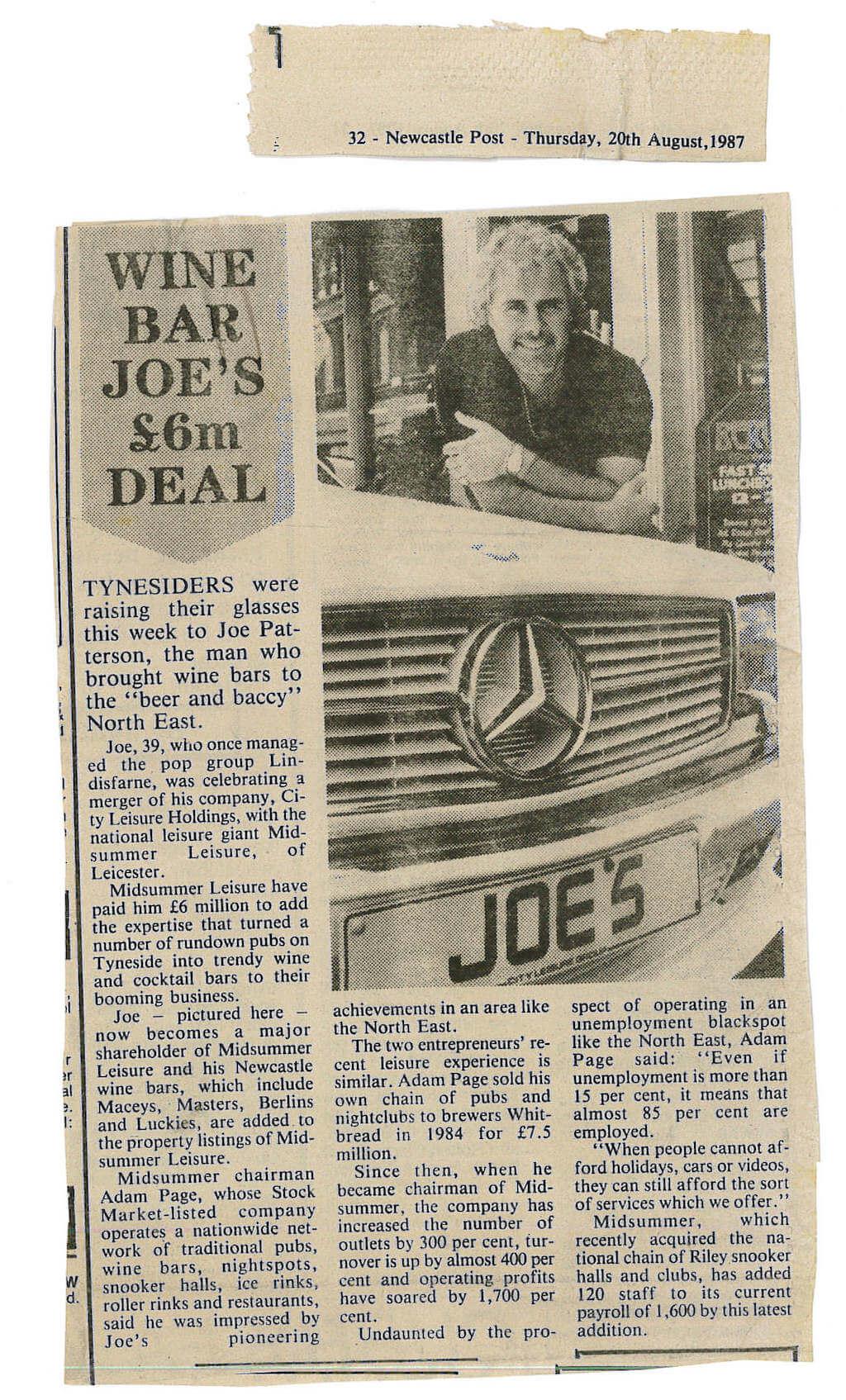 joe robertson news article - Headlined Wine Bar Joe's £6 million deal