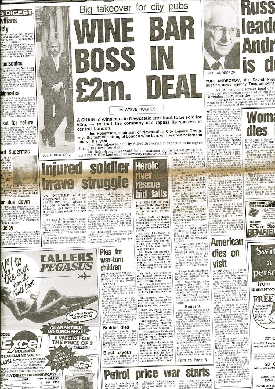 Joe Robertson News Article - Headlined Wine Bar Boss in £2 million deal Page 1
