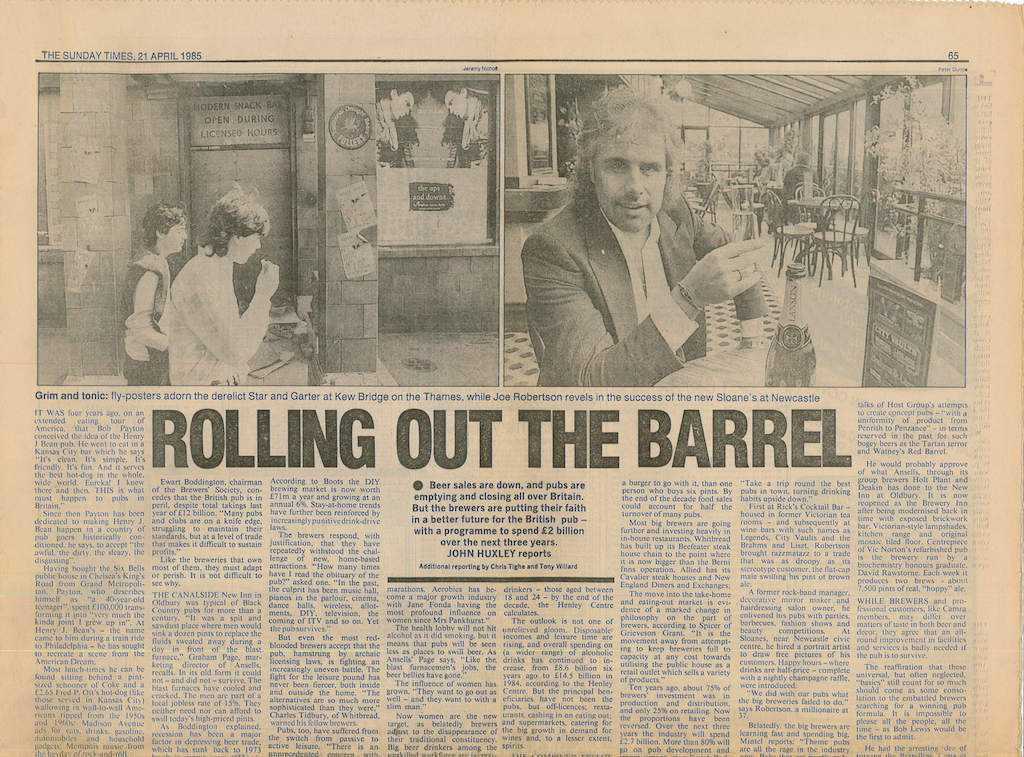 Joe Robertson News Article - Headlined Rolling Out The Barrel Page 1
