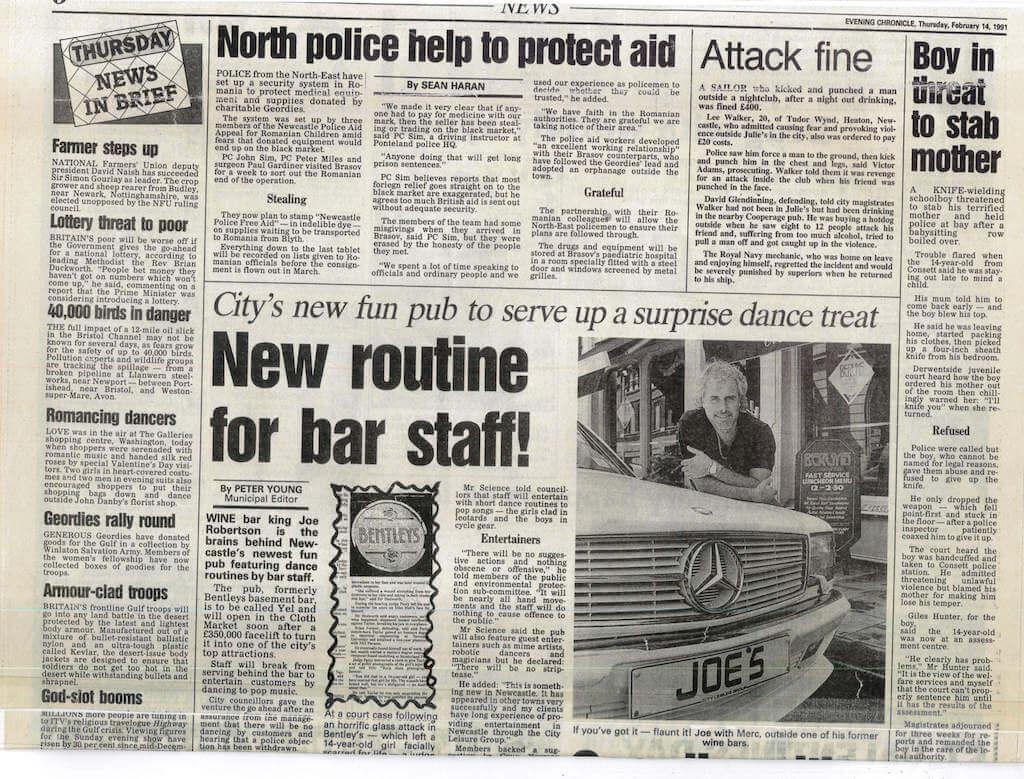 Joe Robertson News Article - Headlined New Routine for Bar Staff