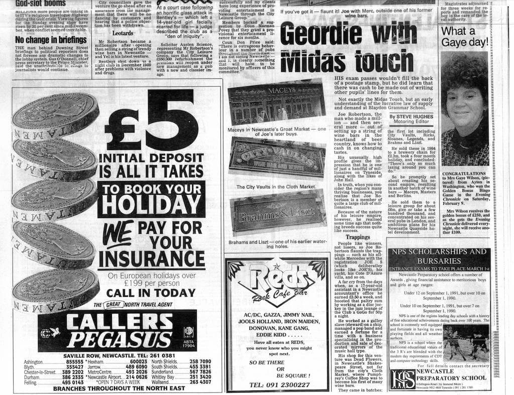 Joe Robertson News Article - Headlined Geordie with the Midas touch